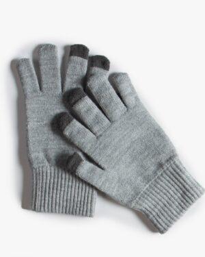 دستکش بافت زمستانی نخی کشی - طوسی کم رنگ - رو به رو