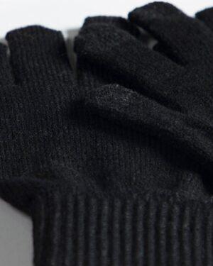 دستکش بافت زمستانی نخی کشی - مشکی - دستکش بافتنی