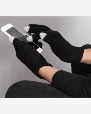 دستکش بافت زمستانی نخی کشی - مشکی - دستکش تاچ