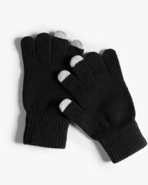 دستکش بافت زمستانی نخی کشی - مشکی - رو به رو دستکش