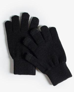 دستکش بافت زمستانی نخی کشی - مشکی - رو به رو