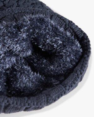 دستکش و شال گردن و کلاه داخل خزدار بافت - سربی تیره - کلاه خزدار