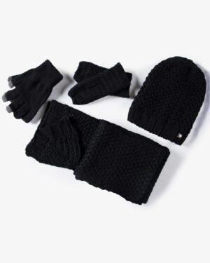 دستکش و شال گردن و کلاه داخل خزدار بافت - مشکی - ست