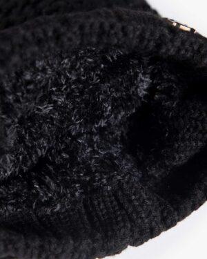 دستکش و شال گردن و کلاه داخل خزدار بافت - مشکی - کلاه خزدار
