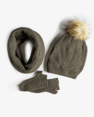 ست کلاه و شال گردن و دستکش بافتنی ساده - زیتونی سیر - رو به رو