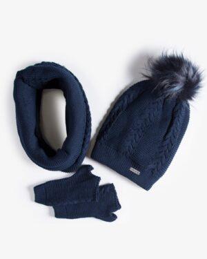 ست کلاه و شال گردن و دستکش بافتنی ساده - سرمه ای تیره - رو به رو