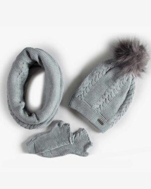 ست کلاه و شال گردن و دستکش بافتنی ساده - طوسی کمرنگ - رو به رو