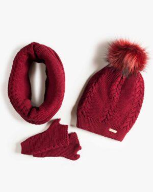 ست کلاه و شال گردن و دستکش بافتنی ساده - عنابی - رو به رو