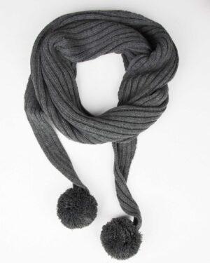 شال گردن بافت دخترانه منگوله دار - خاکستری - بسته