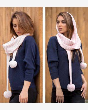 شال گردن بافت دخترانه منگوله دار - صورتی - محیطی