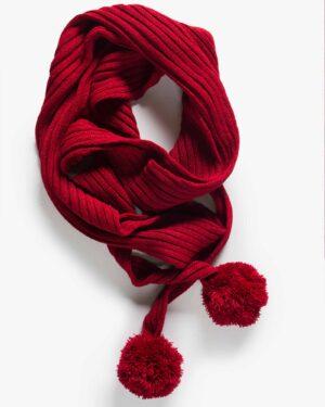 شال گردن بافت دخترانه منگوله دار - قرمز - بالا
