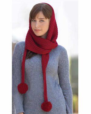 شال گردن بافت دخترانه منگوله دار - قرمز - زنانه