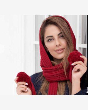شال گردن بافت دخترانه منگوله دار - قرمز - محیطی