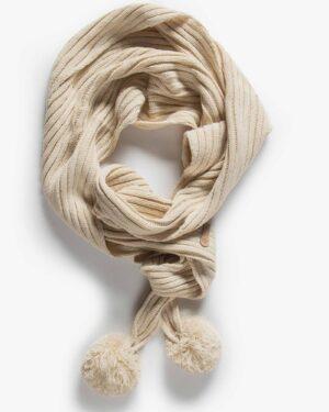 شال گردن بافت دخترانه منگوله دار - کرمی - بالا