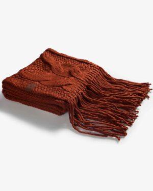 شال گردن بافت درشت طرح دار - آجری - مایل