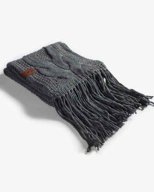 شال گردن بافت درشت طرح دار - خاکستری - مایل