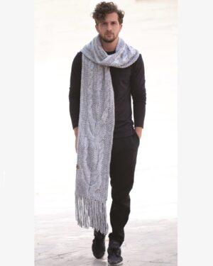 شال گردن بافت درشت طرح دار - طوسی کمرنگ - محیطی مردانه