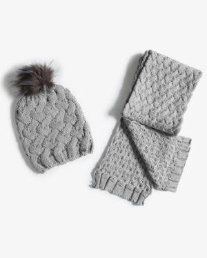 شال گردن و کلاه بافت طرح حصیری - طوسی کمرنگ - شال گردن و کلاه
