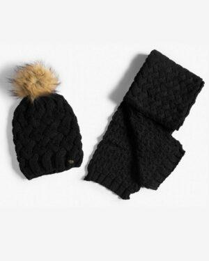 شال گردن و کلاه بافت طرح حصیری - مشکی- شال گردن و کلاه