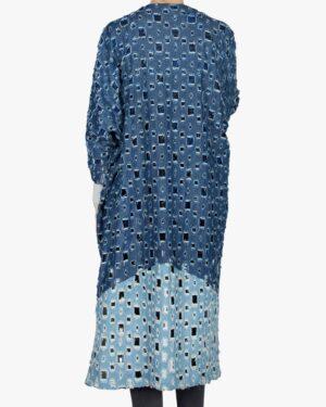مانتو جین دخترانه بلند زاپ دار - آبی کاربنی - پشت