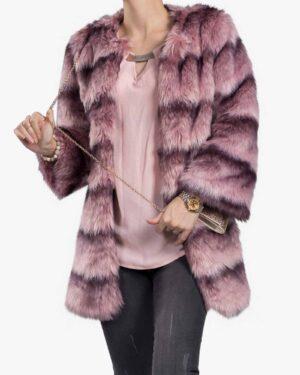 پالتو زنانه کوتاه صورتی بنفش تمام خز - یاسی - جلو باز