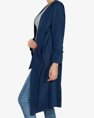 پالتو فوتر زنانه بلند - آبی تیره - بغل
