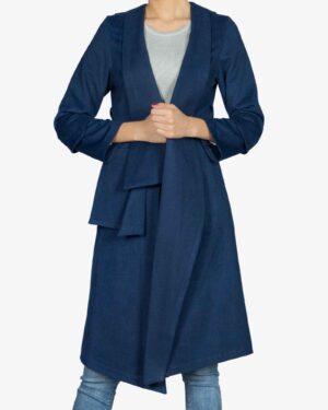 پالتو فوتر زنانه بلند - آبی تیره - رو به رو