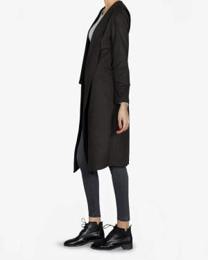 پالتو فوتر زنانه بلند - مشکی - بغل