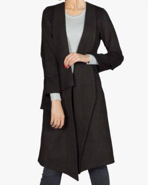 پالتو فوتر زنانه بلند - مشکی - رو به رو