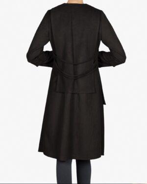 پالتو فوتر زنانه بلند - مشکی - پشت