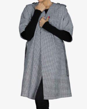 پالتو فوتر زنانه طرح دار سیاه سفید - سفید - رو به رو