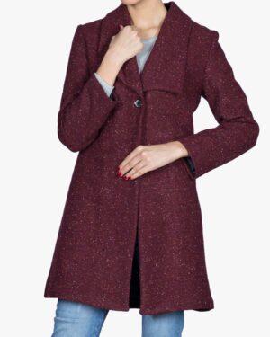 پالتو یقه آمریکایی زنانه کوتاه طرح خالدار - زرشکی - رو به رو