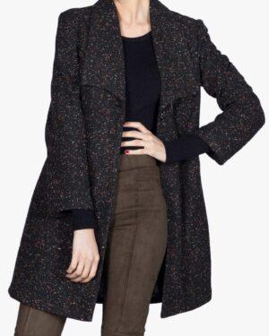 پالتو یقه آمریکایی زنانه کوتاه طرح خالدار - مشکی - جلو باز
