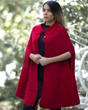 پانچو بافت جلو باز دخترانه - قرمز - محیطی زنانه