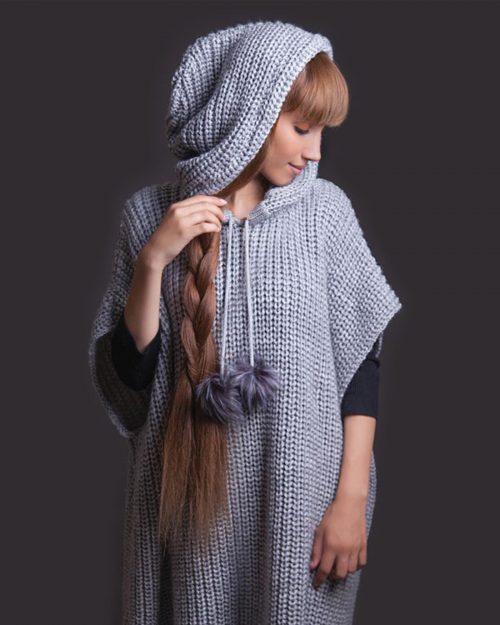 پانچو بافت دخترانه کلاه دار - خاکستری - مدل