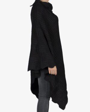 پانچو بافت زنانه جلو بسته یقه اسکی - مشکی - بغل