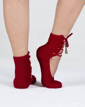پاپوش بافت زنانه ساده بند دار - قرمز - پشت