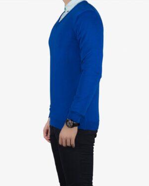 پلیور بافت مردانه ساده یقه هفت آبی - آبی کاربنی - بغل