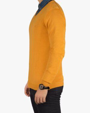 پلیور بافت مردانه ساده یقه هفت زرد - خردلی - بغل