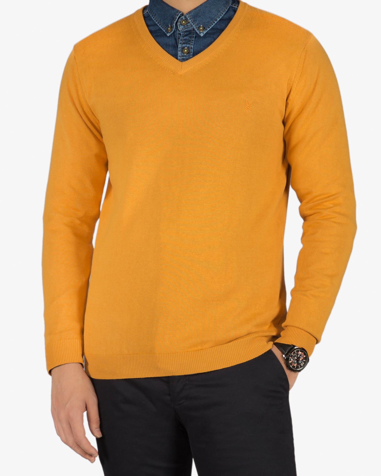 پلیور بافت مردانه ساده یقه هفت زرد  