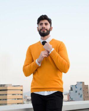 پلیور بافت مردانه ساده یقه هفت زرد - خردلی - محیطی