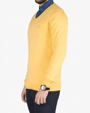 پلیور بافت مردانه ساده یقه هفت زرد - لیمویی - بغل