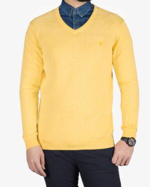 پلیور بافت مردانه ساده یقه هفت زرد - لیمویی - رو به رو