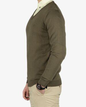 پلیور بافت مردانه ساده یقه هفت سبز - سبز ارتشی - بغل