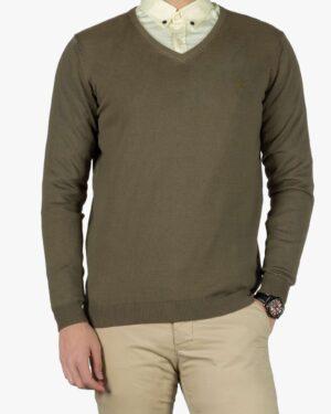 پلیور بافت مردانه ساده یقه هفت سبز - سبز ارتشی - رو به رو