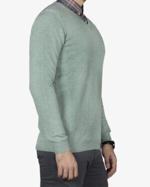 پلیور بافت مردانه ساده یقه هفت سبز - سبز دریایی - بغل
