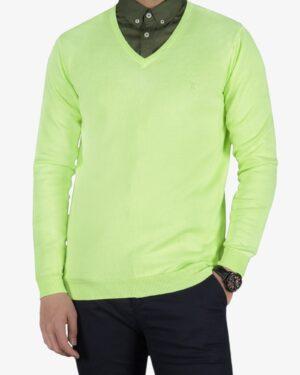 پلیور بافت مردانه ساده یقه هفت سبز - فسفری - رو به رو