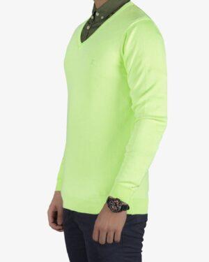پلیور بافت مردانه ساده یقه هفت سبز - فسفری - سه رخ