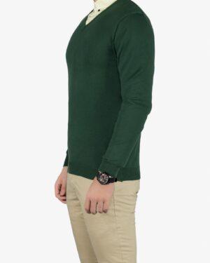 پلیور بافت مردانه ساده یقه هفت سبز - یشمی پر رنگ - بغل پلیور