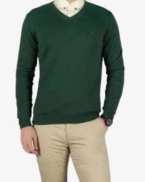 پلیور بافت مردانه ساده یقه هفت سبز - یشمی پر رنگ - رو به رو پلیور